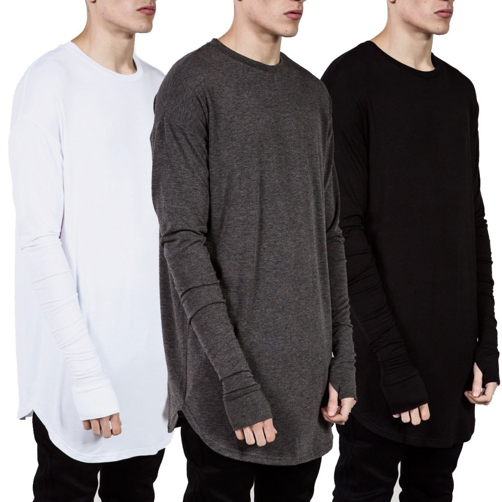 Extended t shirt men 2016 summer curved hem longline hip for Urban streetwear t shirts