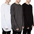 Extended T-Shirt Men 2016 Summer Curved Hem Longline Hip Hop Tshirts Urban Blank Mens Tee Shirts Justin Bieber Clothes
