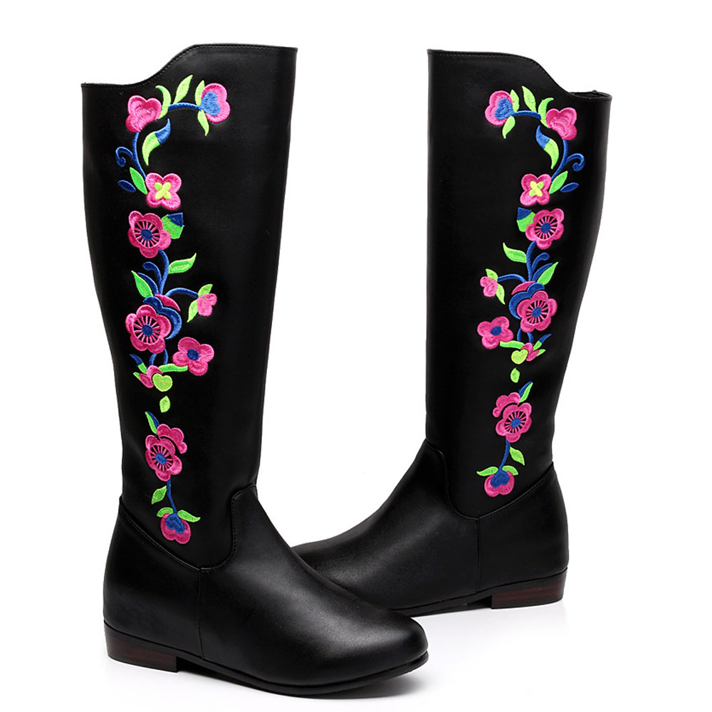 Vintage Embroidery Boots Leather Ethnic Knee Fur Retro Heels Floral Embroidered Winter Black Shoes Woman Warm Boots Big Size 41 ethnic embroidered black cami dress for women