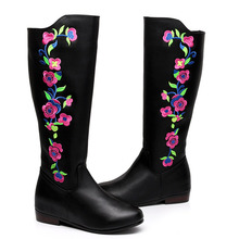 Vintage Embroidery Boots Leather Ethnic Knee Fur Retro Heels Floral Embroidered Winter Black Shoes Woman Warm Boots Big Size 41