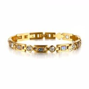 Image 4 - Rainso Bio Energy Bracelet with 3 Smart Buckles Magnet Bracelet Health Care Elements Gold Bracelets For Women Girlfriend Gift