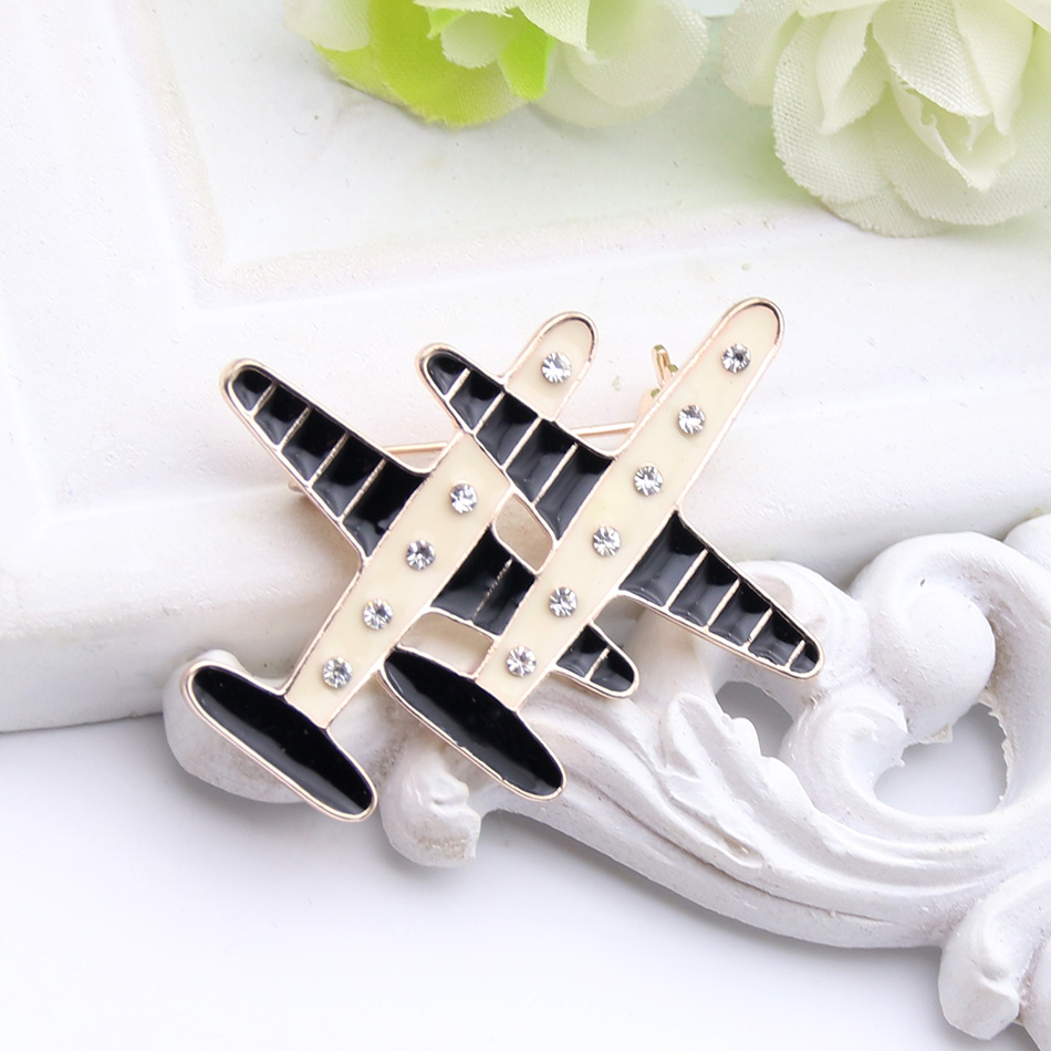 Fashion Brand Design 2 Plane Brooch For Women Private Custom Jewelry Enamel Paint Airplane Brooches Broches
