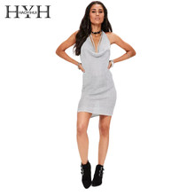 HYH HAOYIHUI 2018 V-Neck Lace-up Bodycon Female Bow Mini Dress Autumn sexy&Club Gray sweater dress women for lady(China)