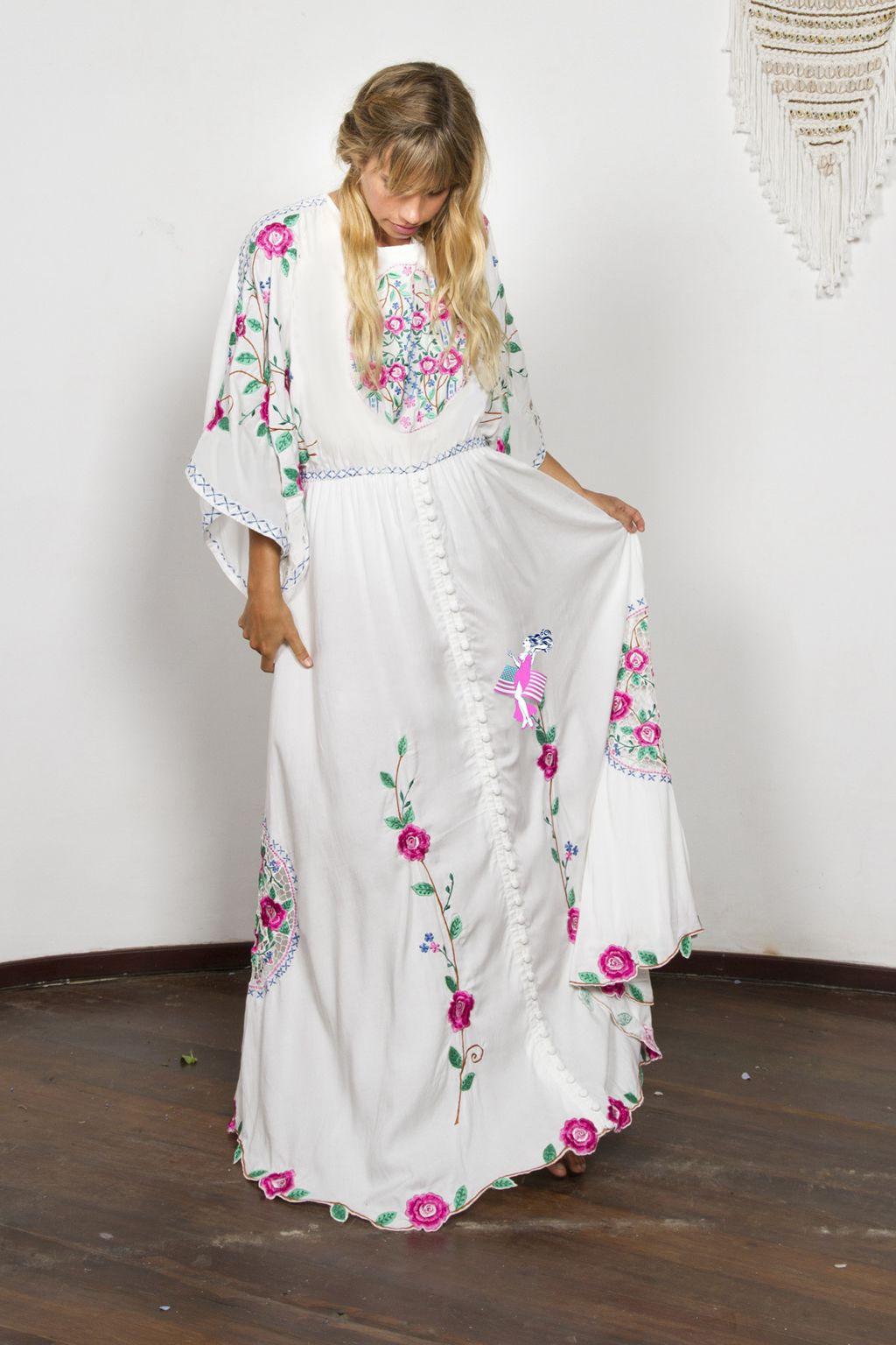 Donne Di Lungo Blue Chic Allentato Maxi collo Nero 2019 Del Manicotto Backless Fiore Sexy Vestito Etnico Ricamo bianco Modello O Chiarore il Delle qVGUMSzp