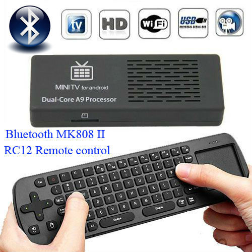 Newest MK808B (MK808II) Bluetooth Mini PC Android 4.1 RK3066 A9 Dual Core TV Dongle set with RC12 Remote Control 1G+8G for HDTV