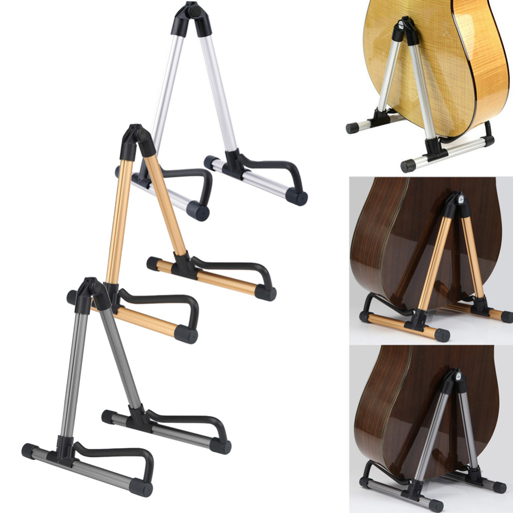Guitar Stand Universal Folding Electric Acoustic Bass Guitar Stand A Frame Floor Rack Holder Gold Silver Gray 3 Colors folding a frame electric guitar floor stand holder acoustic guitar electric guitar bass floor rack holder promotion
