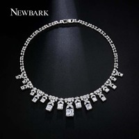 NEWBARK Classic Silver Color Choker Necklace Cubic Zirconia New Arrival Fashion Long Wholesale Women Wedding Jewelry Accessories