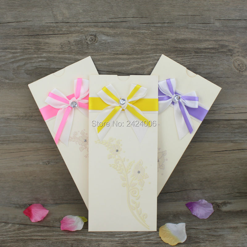 50pcs/Lot Popular/Pink/Red/Yellow Ribbon Pocket Place Cards Diamond Wedding  Invitation Cards For Wedding