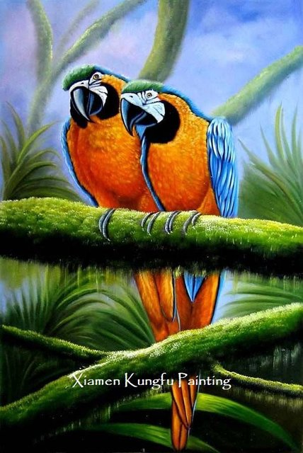 100 Hand Paint Birds Oil Painting Technique Canvas Wall Art Home Decoration Modern Set