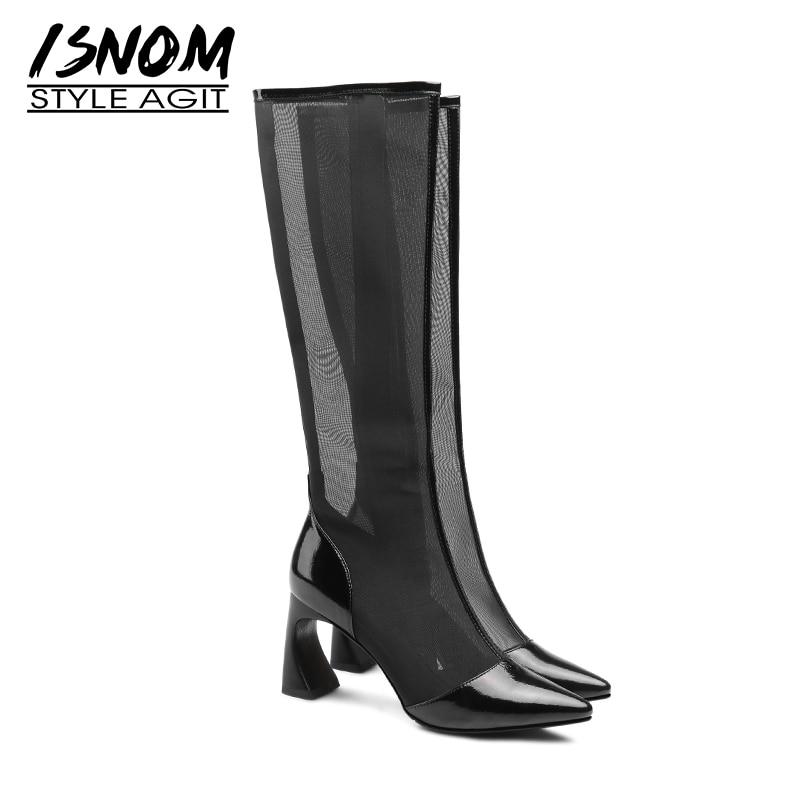 Black Isnom Nouveau Bottes Femme Insolite Printemps black Short Femelle Femmes Chaussures Long Verni Cuir Maille Boot Pointu Bout 2019 Mode Talon En qATqCwU