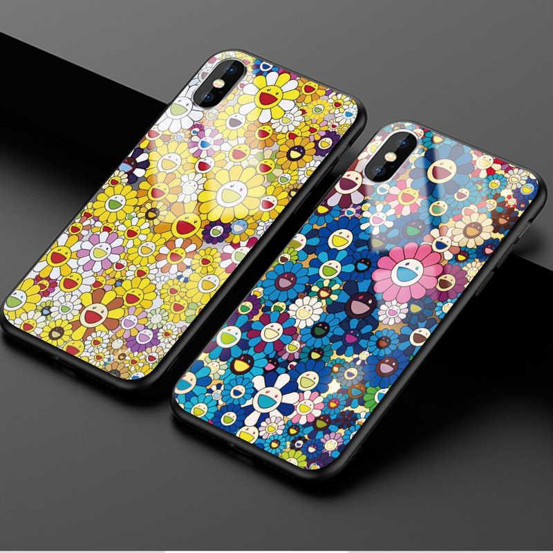 188d7e4c30 Lovely Murakami Takashi Sun flower Original luxury Tempered glass cases For  iphoneX 5 5S SE 6 6S 7 8 Plus XS Max XR