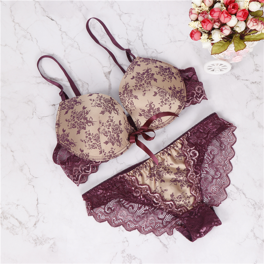 2018 new brand BC big cup sexy bra set lace push up women underwear panty set refreshing bra brief sets france lingerie suit