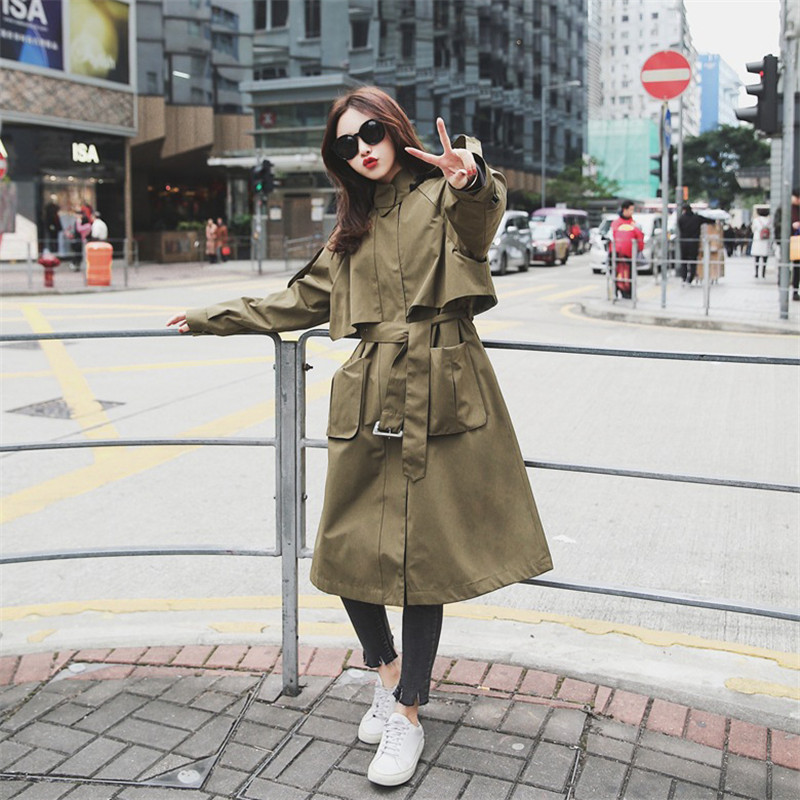 UK Brand new Fashion 2019 Fall /Autumn Women Casual Oversized Large pockets Loose   Trench   coat Chic Female windbreaker YH213