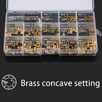 260Pcs M3 M4 M5 M6 Brass Metric Thread Grub Screws Flat Point Hexagon Socket Set Screws Headless Assortment Kit