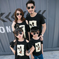 Summer Family Matching Outfits Mother Daughter Dresses Off Shoulder Dad Son Short Sleeve T-shirt Black