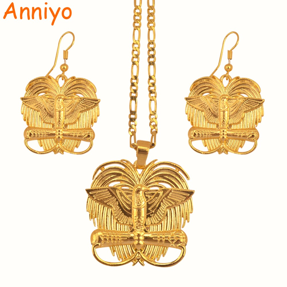 Anniyo Gold Color Bird of Paradise Pendant Necklaces for Women Papua New Guinea Jewelry PNG(NO PATTERN ON THE BACK) #079306 машнин тимур сергеевич google app engine java и google web toolkit разработка web приложений