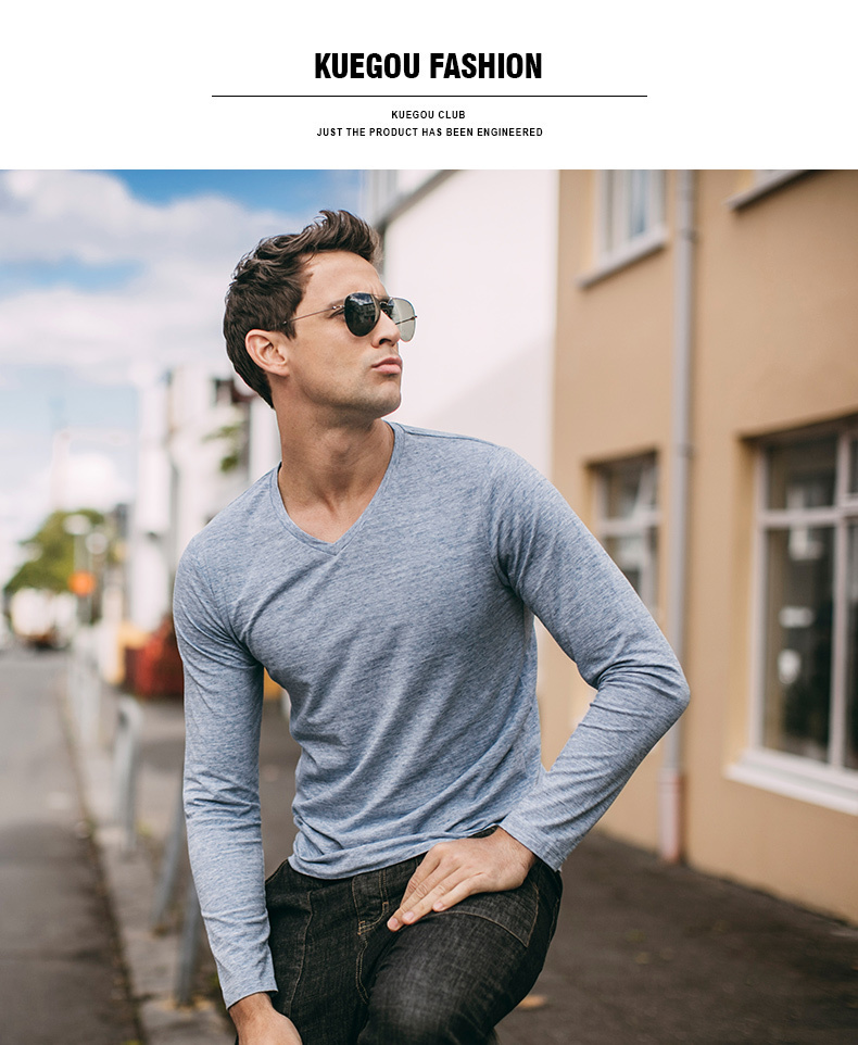 Autumn Men T Shirt Cotton V-Neck Blue Color For Man Casual Long Sleeve Slim Fit T-Shirt Male Wear 2018 New Tops Tee Shirt 268 8