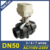 DN50 2 AC110V 230V PVC Normal Open Close Valve TF50 P2 C BSP NPT 2 Wires