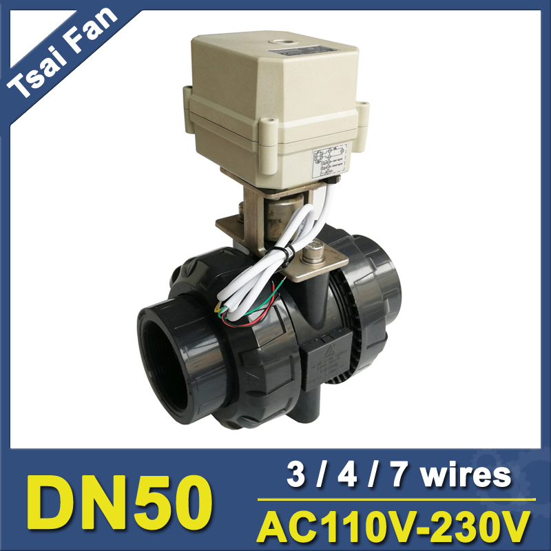 где купить PVC DN50 2'' AC110V-230V Electric Motorized Ball Valve TF50-P2-C BSP/NPT 3/4/7 Wires 10NM On/Off 15 Sec For Water Application CE по лучшей цене