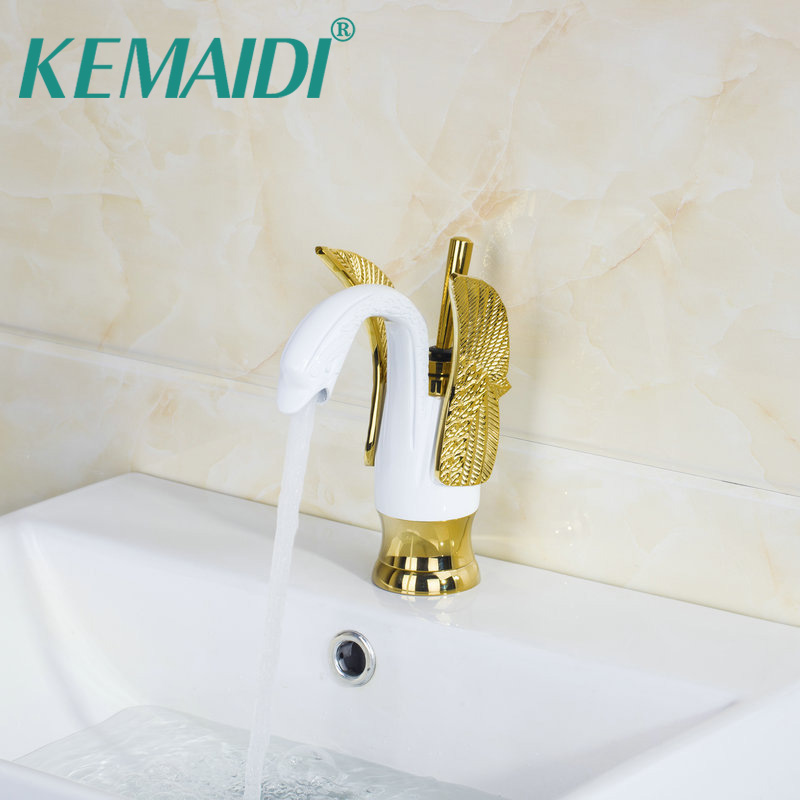 KEMAIDI Bathroom Sink Faucet Swan Design Polished Chrome And White Painting Basin Faucets Deck Mounted Tap Mixer Single Lever free shipping polished chrome finish new wall mounted waterfall bathroom bathtub handheld shower tap mixer faucet yt 5333