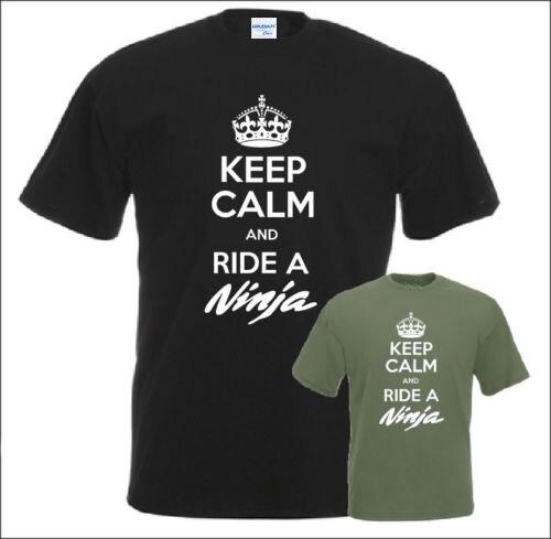 2017 New Men T-Shirt Men Summer Hot Sale Style Keep Calm And Ride A Ninja T-Shirt Motorcycle Biker Gift Tee Shirt