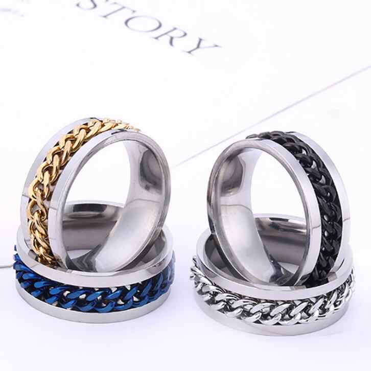 Punk Rock Men Spinner Ring Titanium Stainless Steel Gold Black Chain Rotable Rings For Women Accessories Size 6-12
