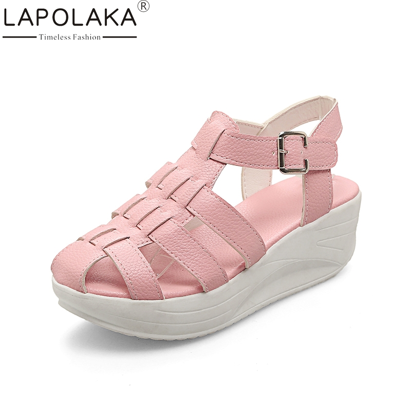 LAPOLAKA Big Size 33-43 Best Quality Summer Platform Gladiator Sandals Shoes Women Leisure Casual Comfortable Woman Shoes 32 43 big size summer woman platform sandals fashion women soft leather casual silver gold gladiator wedges women shoes h19