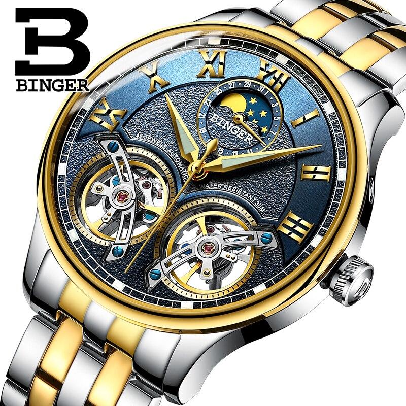2018 NOUVELLE arrivée hommes de montre de luxe marque BINGER saphir Résistant À L'eau toubillon en acier plein Mécanique horloge B-8606M-5