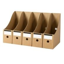 Stationery Storage Box Kraft Paper Magazine Document Rack Desk Organiser School Paperwork Office File Holder Foldable цена и фото