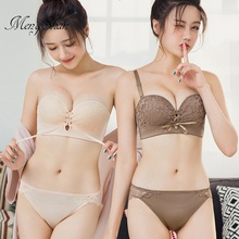 Breast pulling rope Ring-free underwear Gather comfort Strapless Magic Palm Cup Bandage girl Adjustment type No trace Bra Set