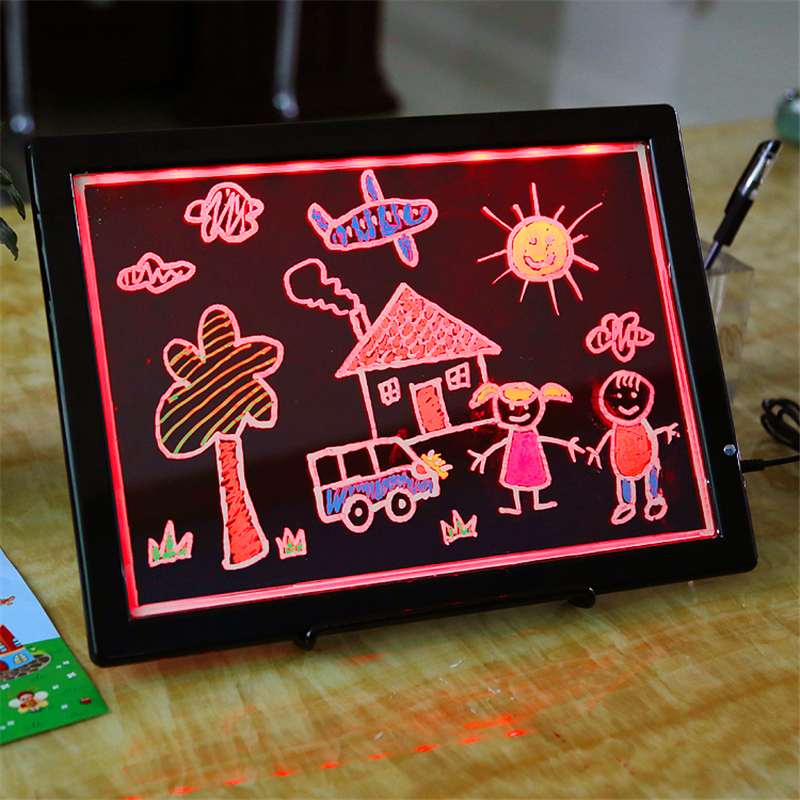 Dual-use Kids Drawing Board Lighted Writing Pad USB Powered Graphics Board Magnetic White Board Front Light Blackboard Toys