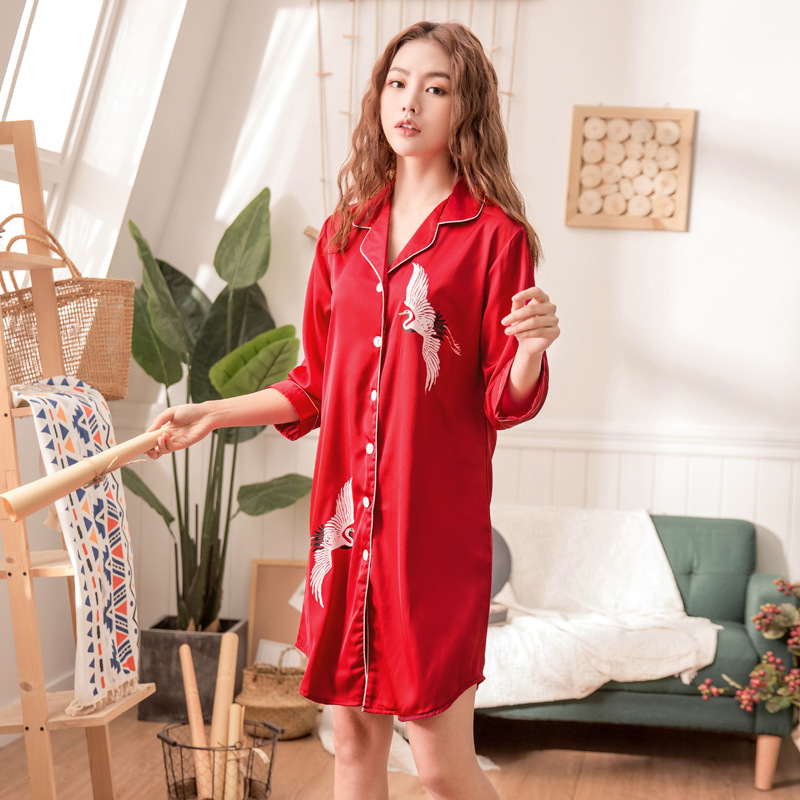 2019 Women   Nightgowns     Sleepshirts   Nightshirts Silk Sleepwear Satin Turn Down Collar Nightdress Flower Print Nightwear