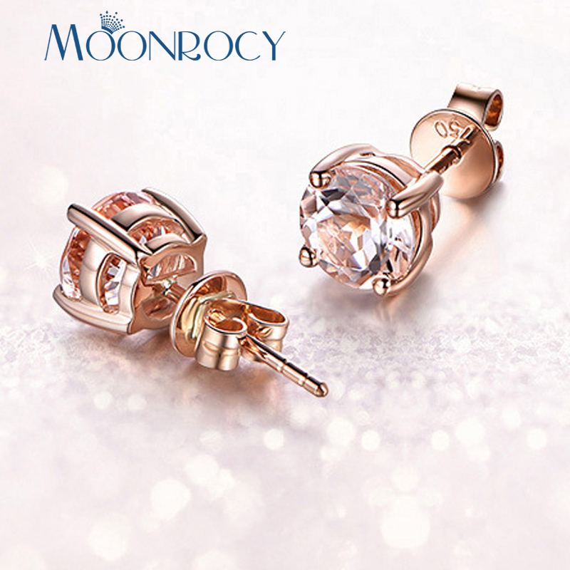 MOONROCY Rose Gold /Silver Color CZ Champagne Blue Green Red Crystal Earrings For Wedding Women Girls OL Gift Drop Shipping