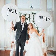 Große Größe 36 zoll Mr Mrs Weiß Latex Ballons für Hochzeit, Braut, Braut zu werden, engagiert Partei Luft Globos Party Liefert