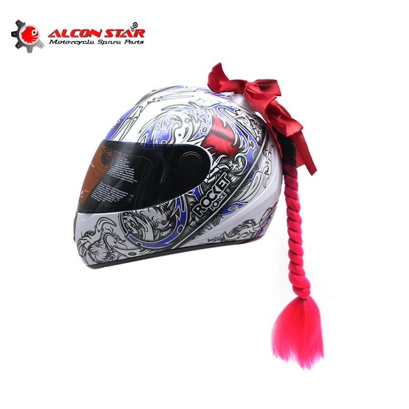 alconstar man women punk style motorcycle helmet decoration twist braid horn motocross motorbike. Black Bedroom Furniture Sets. Home Design Ideas