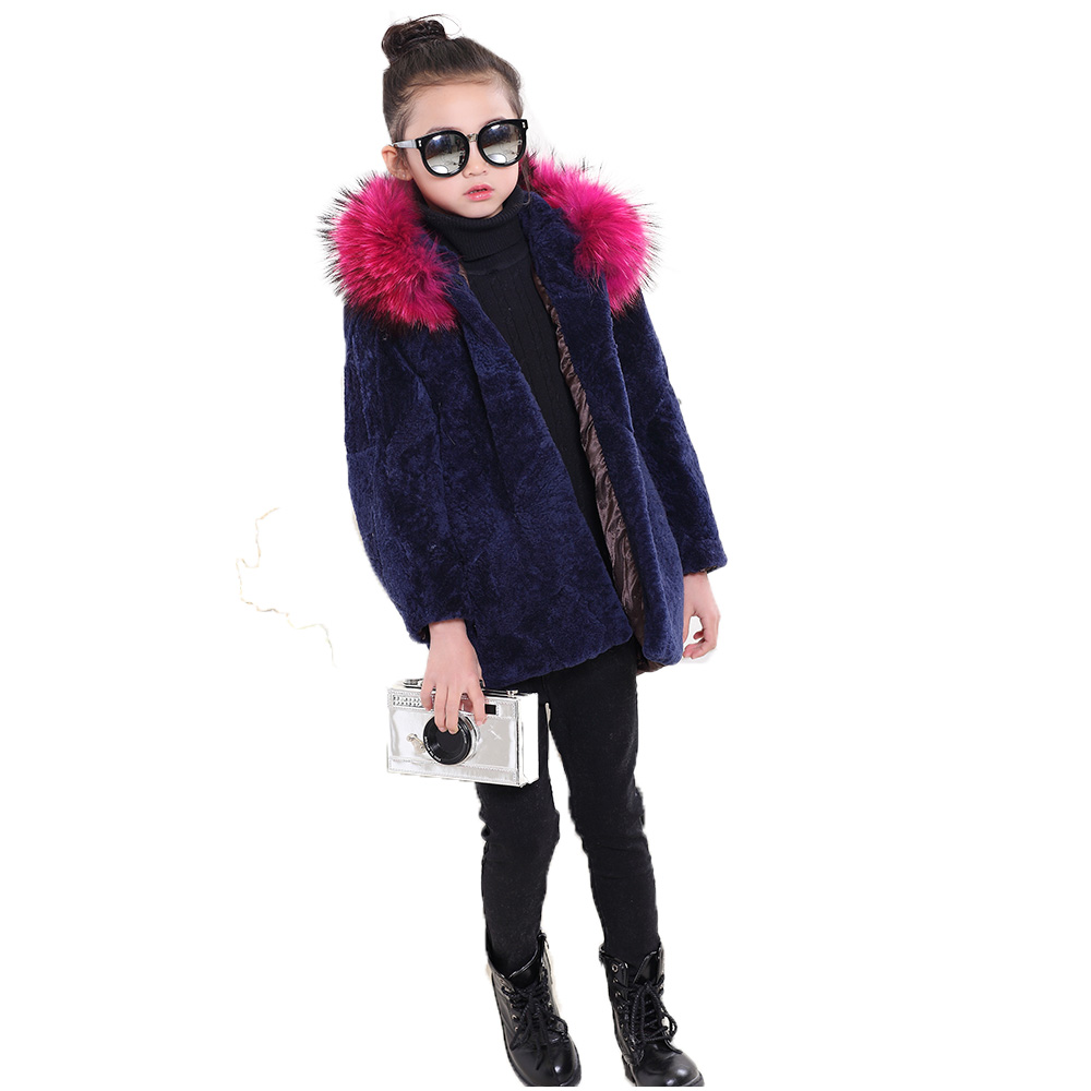 2017Children Real Sheepskin Fur Coats Autumn Winter Baby Girls Warm Thick Long Coat Full Sleeve Kids OuterwearClothing Coat C#03 winter fashion kids girls raccoon fur coat baby fur coats