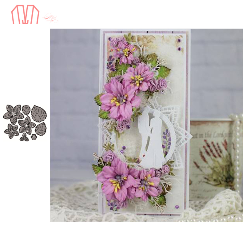Mai 8Pcs/set Flower And Leaves Metal Cutting Dies Stencils For DIY Scrapbooking Photo Album Decorative Embossing DIY Paper Cards