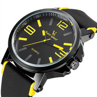 Sport Quartz Watch Men Luxury Brand Super Speed V6 Dial Silicone Strap Analog Round Military Black