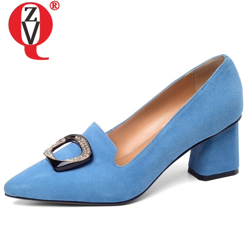ZVQ women pointed toe high heels shoes real good quality kid suede upper spring new style