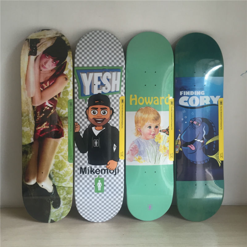2017 8*31.5 Pro Quality GIRL skateboarding deck made by Canadian Maple Decks new decks for Pro SK8ER skating free shipping 26inch skateboard deck simple pattern made by canadian maple wood shape skateboard deck for pro
