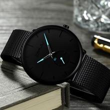 Брендовые Роскошные мужские часы из нержавеющей стали ремешок спортивные часы мужские повседневные кварцевые часы мужские наручные часы знаменитые CRRJU часы