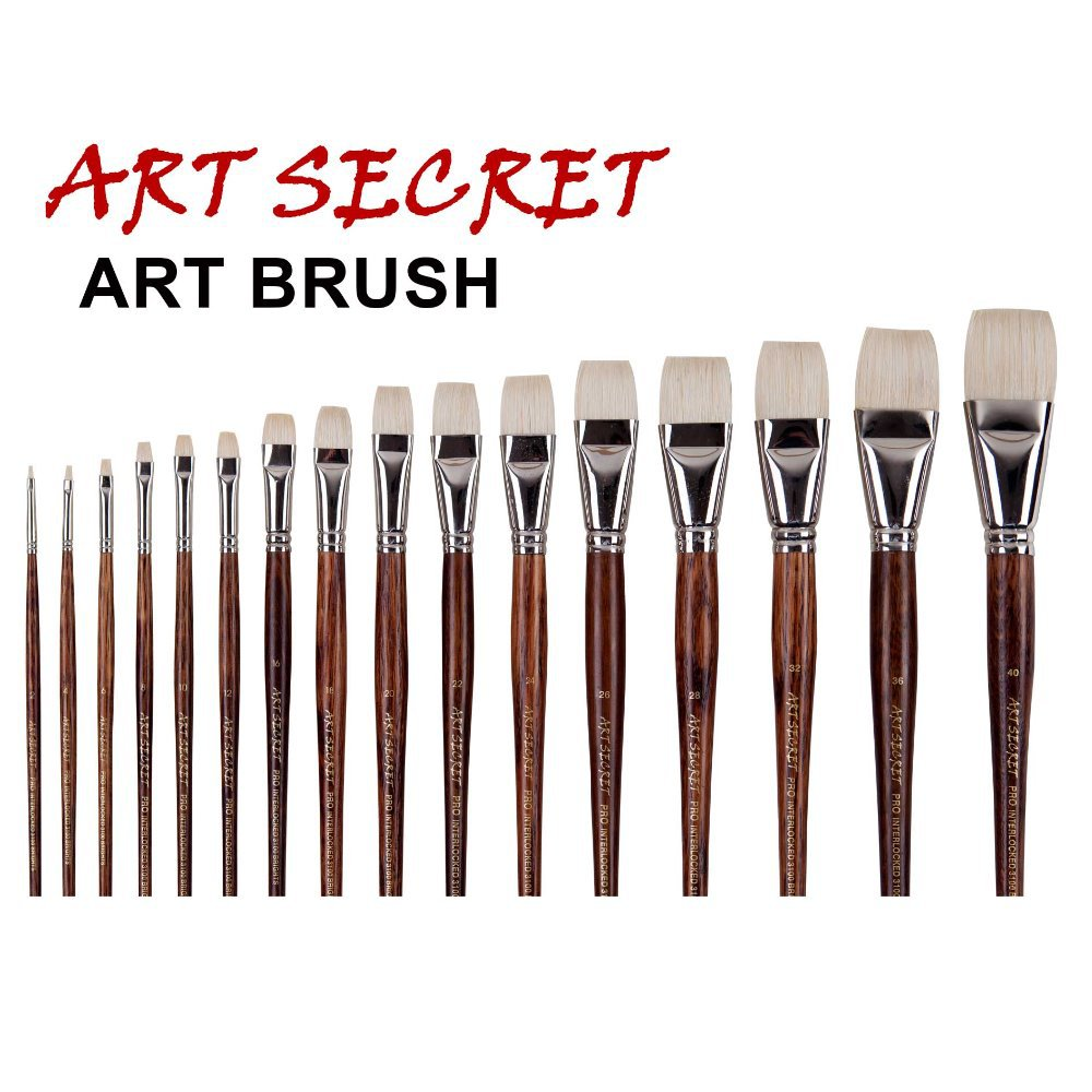 5PCS Painting Brushes Set Pro Red Handle Hog Bristle Watercolor Arylic Artist