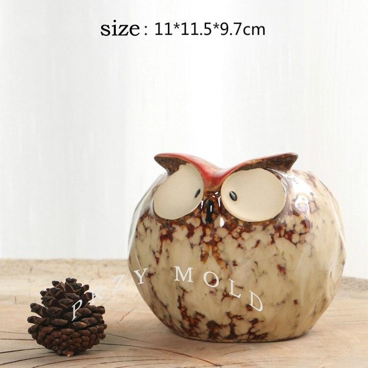 Gel de silice silicone moule 3d vase rond hibou pots de fleurs mignon animaux hiboux forme moules ciment moule d'argile
