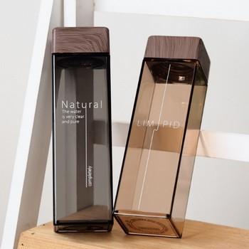 2018 New 500ML Fashion Water Bottle Square Shape With Wooden Lid Plastic Sport Bottle Lady Kids Unbreakable Kettle 4 Colors 3
