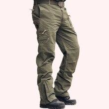 32013cd50e005 Тактические Брюки Джинсы Airborne брюк мужской Повседневное плюс Размеры  хлопок Мешковатые карман военные Стиль армия камуфляж
