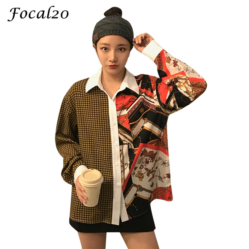 Focal20 Streetwear Hit Color Plaid Women Blouse Shirt Spring Long Sleeve Stiching Color Hip Hop Oversize Female Blouse Top Women's Clothing