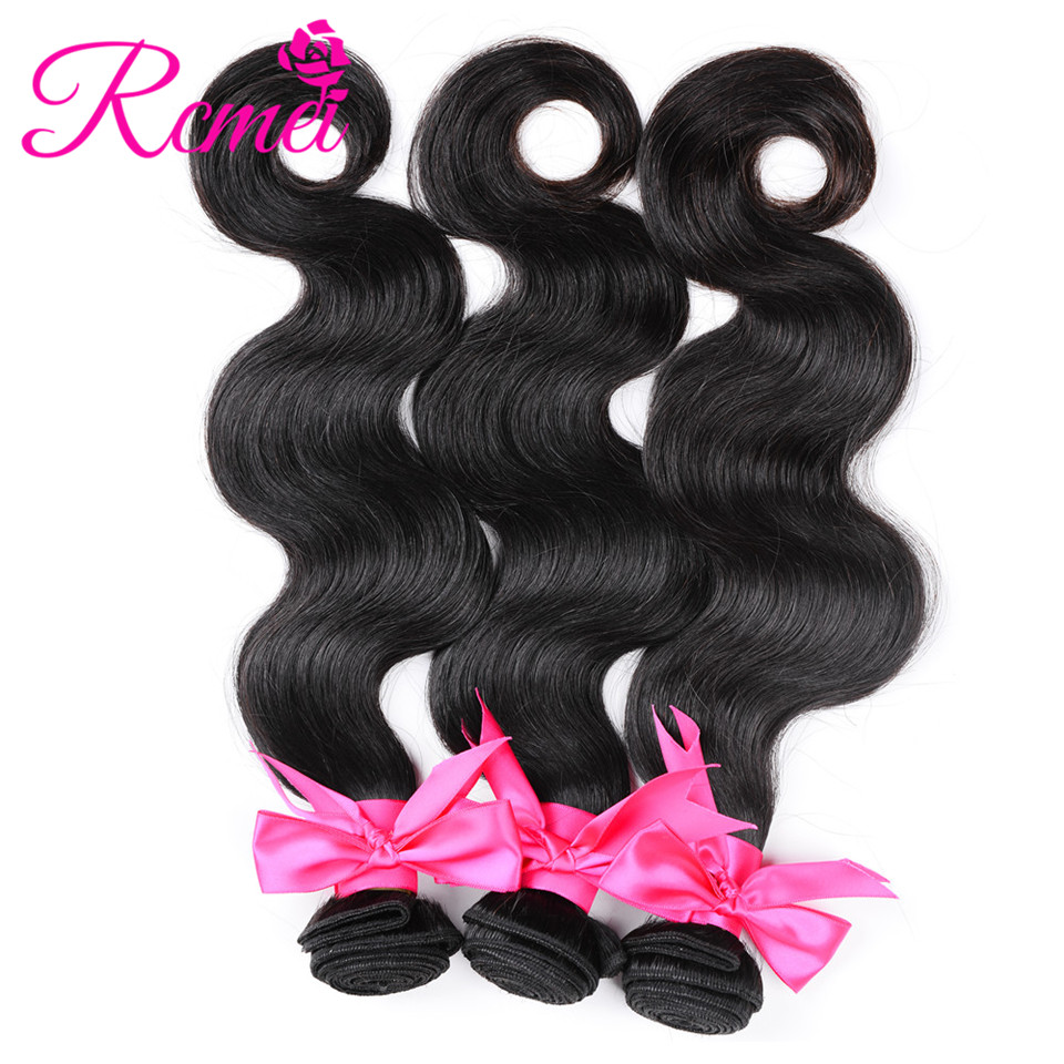 Rcmei Malaysian Body Wave Hair Weave Bundles 3 Bundles/LOT Non Remy Human Hair Extension Natural Color 8-28 Inch Weft