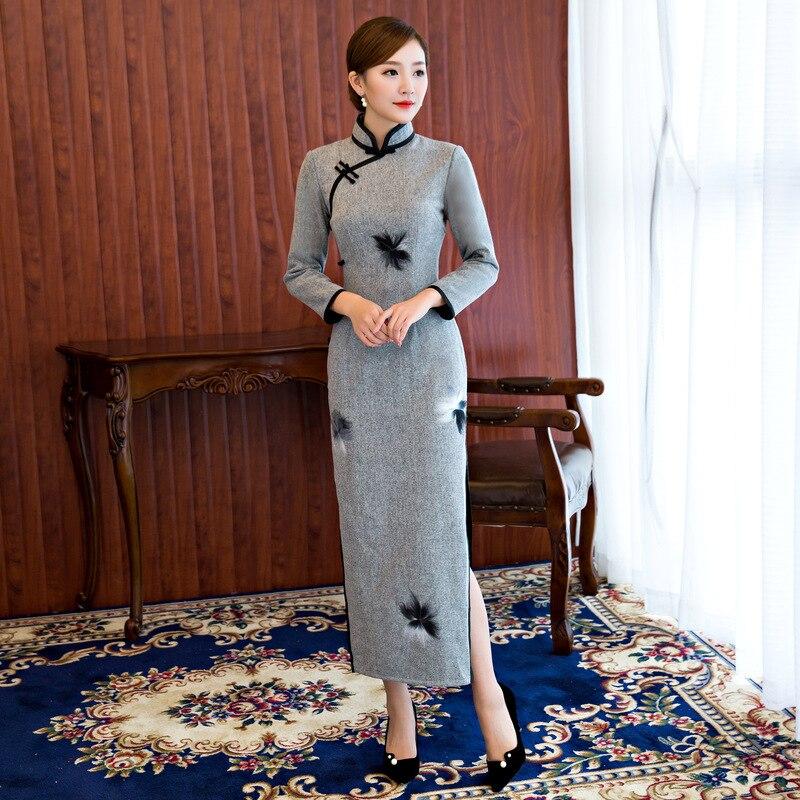 Nuovo Arrivo delle donne Cinesi Tradizionale Abito Lungo di Lana Sottile Lungo Cheongsam estate Sexy Qipao Fiore Taglia Sml XL XXL 3XL B012