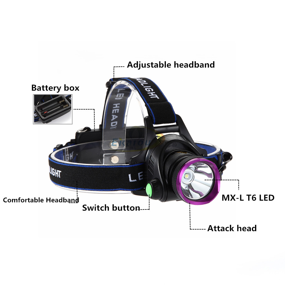Купить с кэшбэком 2000 Lumens Led headlamp XM-L T6  waterproof lamp Outdoor Camping Lighting + 2*18650 rechargeable battery + charger + C