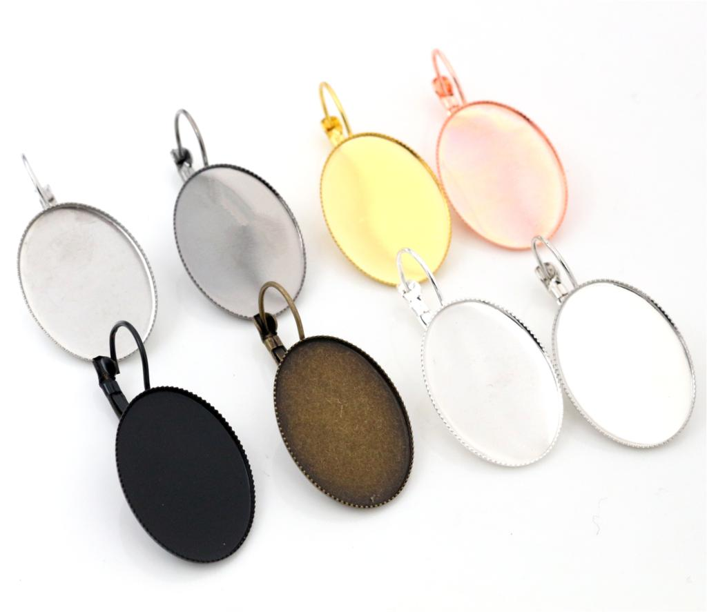 18x25mm 10pcs/Lot Classic 8 Colors plated French Lever Back Earrings Blank/Base,Fit 18x25mm Oval glass cabochons;Earring bezels mibrow 10pcs lot stainless steel 8 10 12 14 16 18 20mm blank french lever earring tray cabochon setting cameo base jewelry